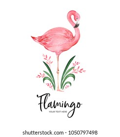 Watercolor card with flamingos can be used as invitation card for wedding, birthday and other holiday and summer background.