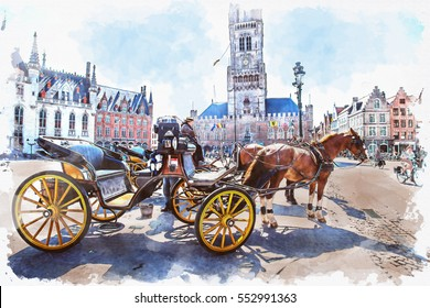 watercolor of Carriage in scenery historical town with tourist people around central of Bruges (Brugge), Belgium,digital painting effect.