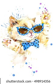 watercolor cat illustration. funny kitten for fashion print, poster for textiles, fashion design.