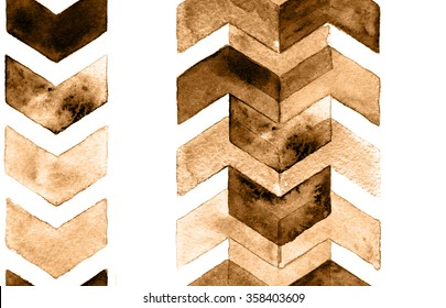 Watercolor chevron coffee colors. Seamless pattern for fabric