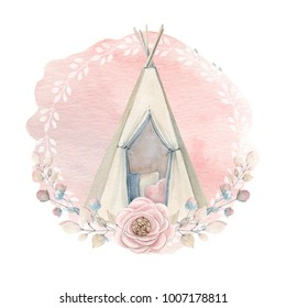 Watercolor childhood clipart. Kids wigwam in boho style. Watercolor isolated. Perfect for invitation, newborn or greeting cards.