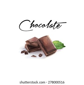 Watercolor chocolate illustration