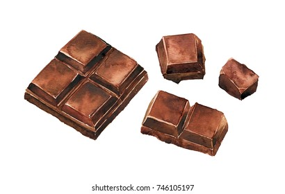 Watercolor chocolate isolated on a white background