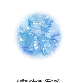 Watercolor christmas blue sky round background with snow. Abstract backdrop, watercolor painting. Hand drawn illustration. Holiday drawing. Snowfall greeting card. Flowing paint, blurry drawing.