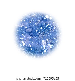 Watercolor christmas blue sky round background with snow. Hand drawn christmas illustration. Abstract backdrop, watercolor painting. Holiday drawing. Snowfall greeting card. Flowing paint.