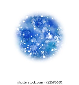 Watercolor christmas blue sky round background. Snowy abstract backdrop, watercolor painting. Hand drawn christmas illustration. Holiday drawings. Snowfall greeting card. Flowing paint, blurry drawing
