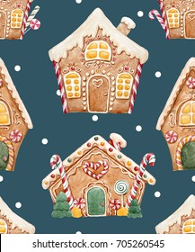 Watercolor Christmas pattern of gingerbread. Gingerbread house, sweets and caramel. retro wallpaper. Falling snow, dark background