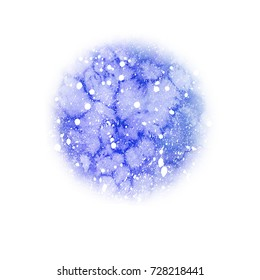 Watercolor christmas round frozen sky background with snow. Hand drawn illustration. Abstract backdrop, watercolor painting. Holiday drawings. Snowfall greeting card. Snow spray splash.