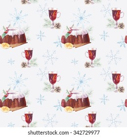 Watercolor Christmas seamless pattern. Hand painted texture with winter holiday food  and drink: mulled wine, plum pudding, orange, cinnamon sticks, pine cone on light snowflakes background