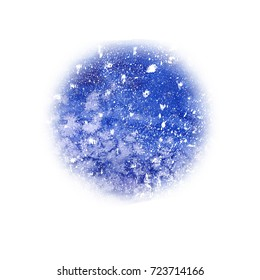 Watercolor christmas snowy round background. Abstract blue backdrop, watercolor painting. Hand drawn christmas illustration. Holiday drawings. Snowfall greeting card. Planet, space, universe.