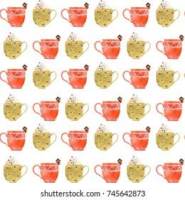 Watercolor Christmas Tea/Coffee Seamless Pattern. Hand drawn illustration.