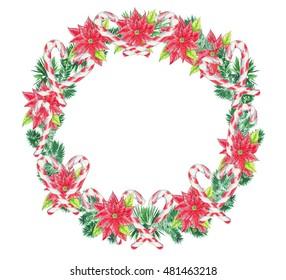 Watercolor Christmas wreath. Hand drawn colorful illustration. Xmas decor.