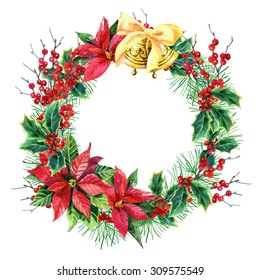 watercolor Christmas wreath with poinsettia plant, pine tree branches, holly plant and bells. Hand painted illustration