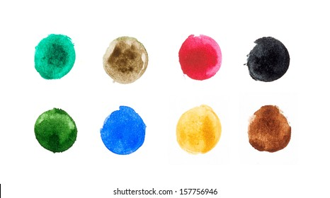 Watercolor circle shape design elements