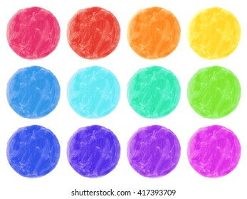 Watercolor circles isolated on white background. Colorful hand painted set.