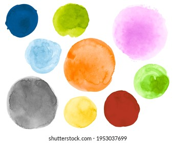 Watercolor Circles Set. Art Graphic Dot Drawing. Hand Paint Template with Blot on Paper. Brush Watercolor Round Collection. Creative Stroke Design. Bright Watercolor Circles Collection.
