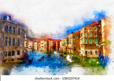 Watercolor cityscapes of Venice. A bright splash of flowers isolated on white.