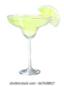 Watercolor cocktail isolated