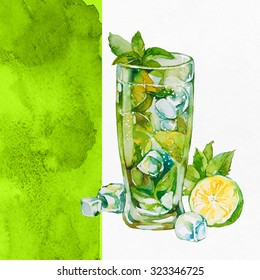 Watercolor cocktails on white background. Watercolor illustration.