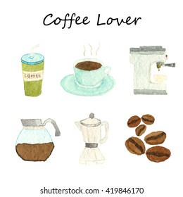 Watercolor coffee lover