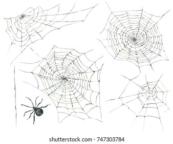 Watercolor collection of black spider and web. Scary spiderweb illustration isolated on white background, Halloween set design elements