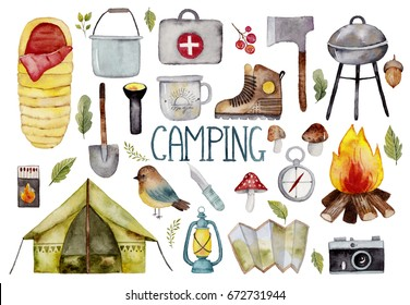Watercolor collection with camping elements