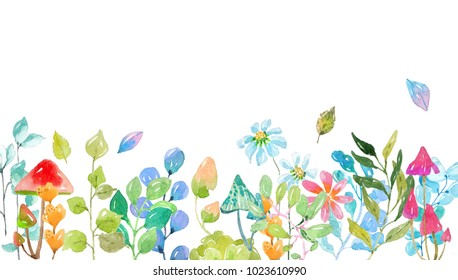 Watercolor collection of color flowers, leaves, mushrooms, bright and beautiful elements over white