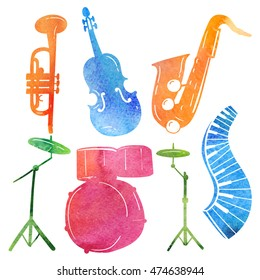Watercolor collection jazz musical instruments - dram, piano, sax, violin