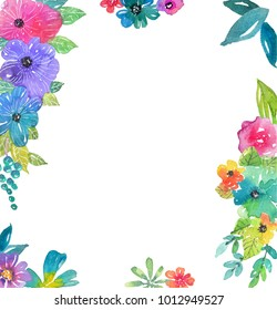 Watercolor color flowers, leaves and butterfly, bright and beautiful background isolated over white