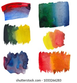 Watercolor color strokes, raster