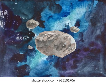 Watercolor colorful Asteroid Belt on starry space galaxy nebula background