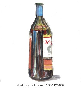 watercolor colorful bottle of wine illustration