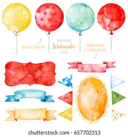 Watercolor colorful collection with ribbons,frames,multicolored balloons, bunting flags,Watercolor isolated elements on white background. Handpainted watercolor collection,perfect for invatations.
