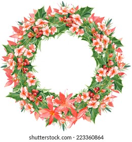 Watercolor colorful floral greeting decoration wreath set with mistletoe