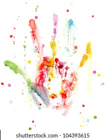 Watercolor colorful hand print with splashes