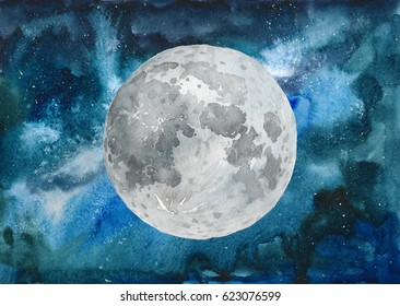 Watercolor colorful Moon and craters on starry space galaxy nebula background