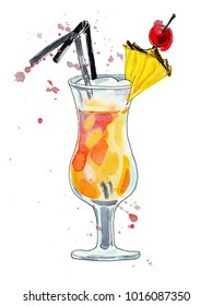 Watercolor colorful pinacolada cocktail with straws, pineapple slice and cherry. Illustration, design element for menu, card, postcard, posters.