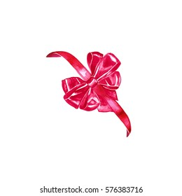 Watercolor colorful red pink isolated decorative bows of ribbon