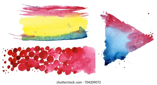 Watercolor colorful texture illustration. Aquarelle paper splash shapes isolated drawing. Abstract aquarelle for background, texture, wrapper pattern, frame or border.