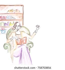 Watercolor comic art of library. Beautiful girl reading book at bergere. Original brush painting.