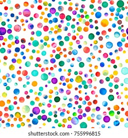 Watercolor confetti seamless pattern. Hand painted quaint circles. Purple scattered dots. 98.