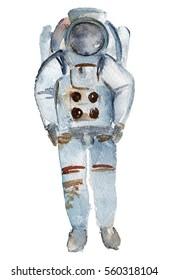 Watercolor cosmonaut illustration.