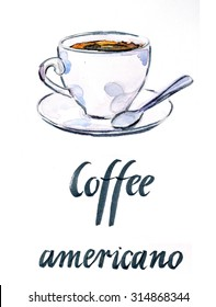 Watercolor cup of coffee Americana, hand drawn - Illustration