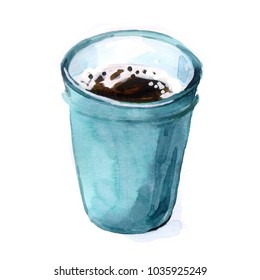 watercolor cup of morning tea