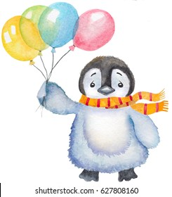watercolor cute baby penguin with balloons and scarf. hand drawn illustration