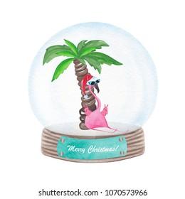 Watercolor cute flamingo in snow globe