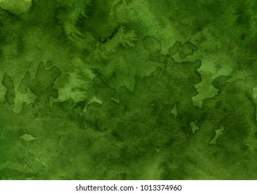 watercolor dark green background, shades of green