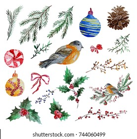 Watercolor decorative christmas clip art decorations set, design elements. Can be used for cards, invitations, gift wrap, print, scrapbooking. Christmas and New Year background