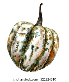 Watercolor decorative pumpkin with colorful spots. Pumpkin isolated on white background. Halloween decor element