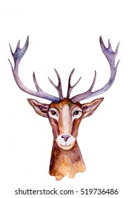 Watercolor deer hand drawn cartoon painting illustration isolated on white background, wild animal with curved horns, mascot head, Character design for greeting card, poster, baby shower, printing